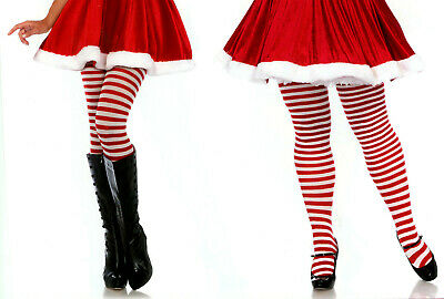 Leg Avenue 7100 Women's Opaque Striped Tights Plus 1-2X or 3-4X Queen Red White