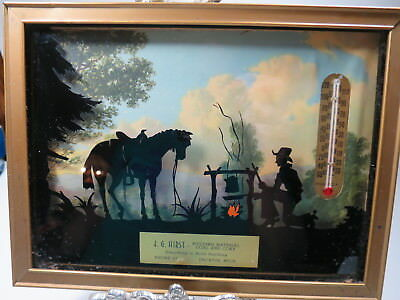 Vtg Antique Reverse Painted Cowboy Scene Thermometer Advertising Decatur MI