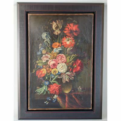 Large Antique 18 / 19th C. Dutch Floral Still Life Flowers & Insects Painting