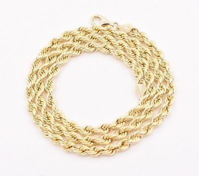 5.5mm Italian Rope Link Chain Pendant Necklace Real 10K Yellow Gold Light Weight