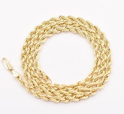 5mm Italian Rope Link Chain Pendant Necklace Real 10K Yellow Gold Light Weight