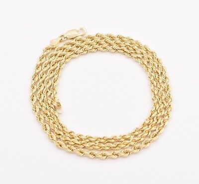 3mm Italian Rope Link Chain Pendant Necklace Real 10K Yellow Gold Light Weight