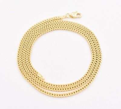 2mm Italian Square Franco Link Chain Pendant Necklace Real 10K Yellow Gold