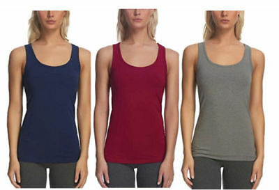 Felina 3 pack Layering Tank Top for Women Size Medium Blue Red Gray