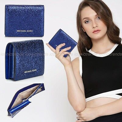 Nwt 💎 Michael Kors Money Pieces Leather Flap Card Holder Wallet Electric Blue
