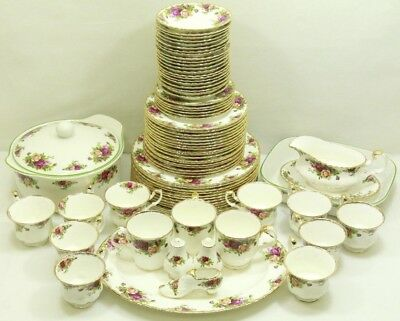 79 Piece Set Royal Albert Old Country Roses Bone China Made in England - READ