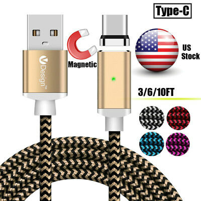 US 1~3m USB-C Type-C Magnetic Fast Charging Charger Cable For Samsung S8 S9+ Lot