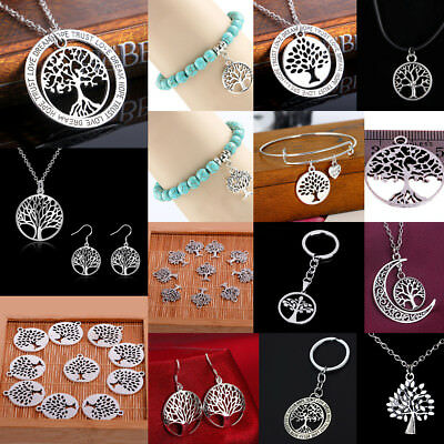 925 Silver Tree Of Life Necklace Charm Earring Jewelry Pendant Keyring Bangle