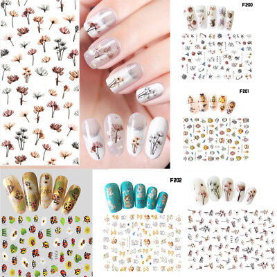 1 Sheet Mixed Design 3D Nail Art Stickers Adhesive Manicure Transfer Decals DIY