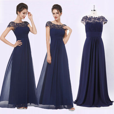 UK Ever-Pretty Navy Blue Short Sleeve Lace Long Prom Bridesmaid Dresses 09993