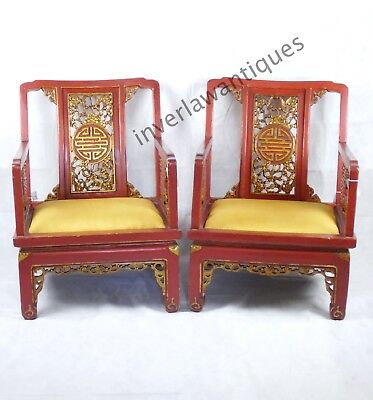 Pair 19th C Qing Dynasty Red and Gilt Lacquered Low Chairs