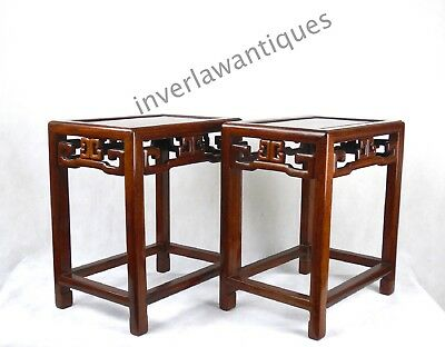Chinese 19thC Qing Dynasty Pair Huanghuali Stools