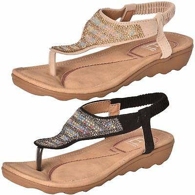 60486d14471705 Ladies Toe Post Sandals Embellished Sling Back T-Bar Cushioned Comfortable  Shoes