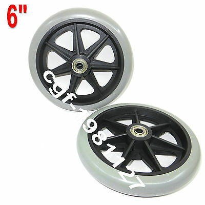 "2× Replacement Parts 6""x1"" Front Rear Wheel for Cardinal Rollator Walker C46"