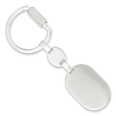 925 Sterling Silver Oval Key Ring - New