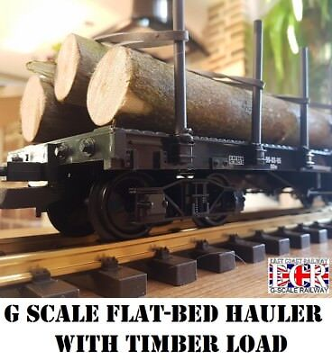 G SCALE FLATBED HAULER WITH REAL TIMBER LOAD FOR RAILWAY CARGO 45mm GAUGE TRAIN