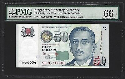 2014 Singapore $50 Dollars PMG 66 EPQ GEM UNC, LOW S/N 000004! Very Rare. P-49g