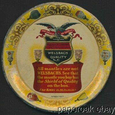 ca1900 Tin Litho Advertising Tip Tray For Welsbach Lighting Mantles