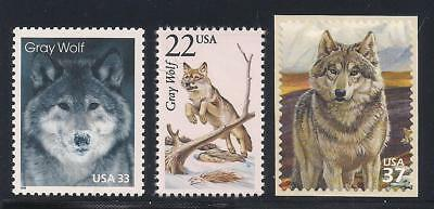 Gray Wolf - Wolves - Set Of 3 U.s. Postage Stamps - Mint Condition