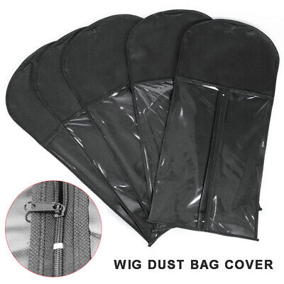 Hair Extension Wig Storage Bag Holder Case Dustproof Protector for Hanger Black