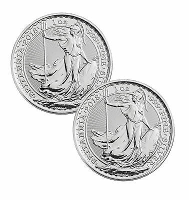 Lot of 2 - 2018 Great Britain 1oz Silver Britannia .999 BU