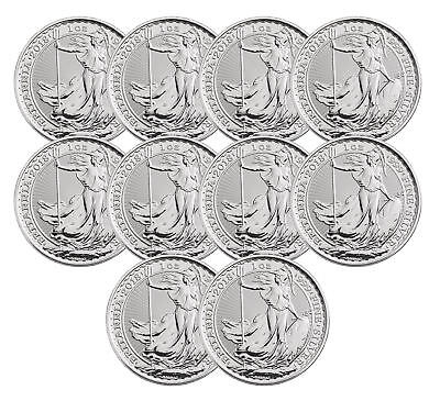 Lot of 10 - 2018 Great Britain 1oz Silver Britannia .999 BU