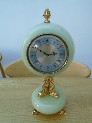 Antique Gilt Metal & Green Onyx Xavier Of London Mantle Clock Fully Working