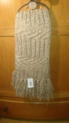 chunky cableknit oatmeal beige scarf ladies new soft touch warm and cosy