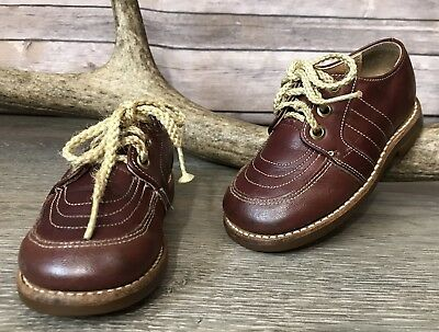 93f56bd3336e0 VINTAGE BUSTER BROWN Toddler Baby Boys Girls Leather Lace Up Oxford Shoes  6.5