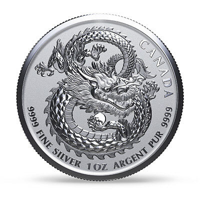 $5 2017 1oz .9999 SILVER LUCKY DRAGON HIGH RELIEF COIN CANADA LIMITED MINTAGE