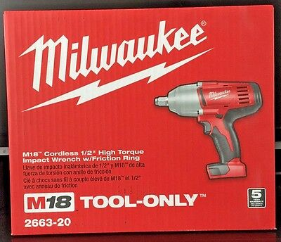 Milwaukee 18V 1/2 in. Cordless HighTorque Impact Wrench w/ Friction Ring 2662-20