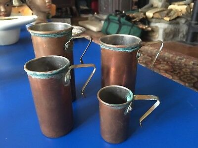 Vintage Copper Measuring Cups Set of Four Tin Lined
