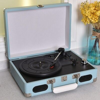 Retro 3 Speed Vinyl Record Player Suitcase Turntable CD Radio Stereo Speaker