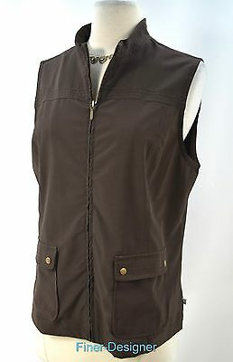 Chicos Zynergy zip up vest top sleeveless coat sporty brown Chico Size 1 S M NEW