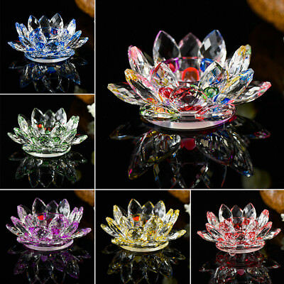 Crystal Glass Lotus Flower Candle Tea Light Holder Candlestick Butter Lamp Decor