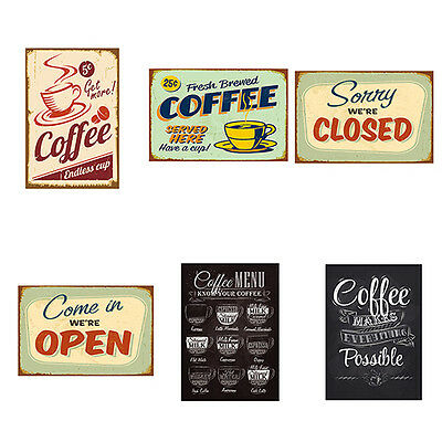 FT- Vintage Metal Tin Coffee Sign Plaque Poster Bar Wall Pub Home Club Kitchen D