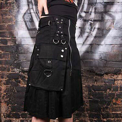 Black dark gothic kilt made of poly cotton material goth kilt discounted price