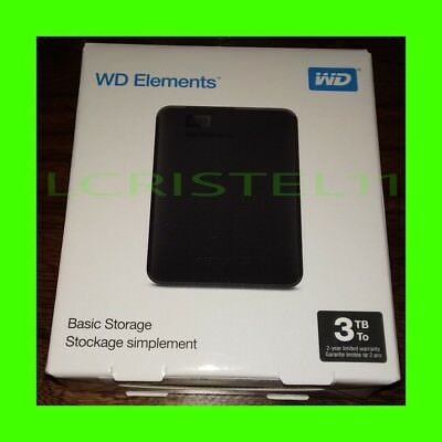 NEW - Western Digital WD 3TB Elements Portable External Hard Drive - USB 3.0