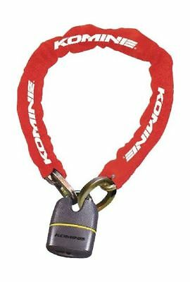 Komine LK-111 Square Chain Pad Lock, red 091110030000