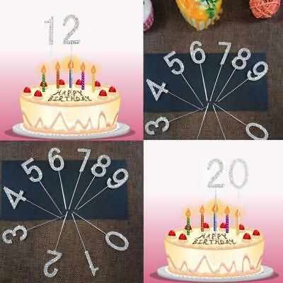 0-9 Diamante Anniversary Birthdays Rhinestone Cake Pick  Zahlen Topper Dekor DE