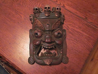 Antique Chinese/Tibetan Painted Wooden Death Mask