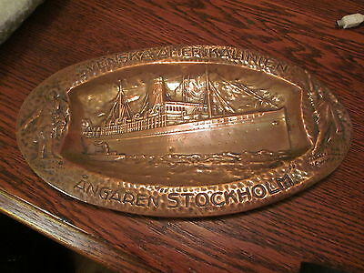 """c.1925 Copper """"Souvenir"""" Tray from the Swedish American Steamship Line"""