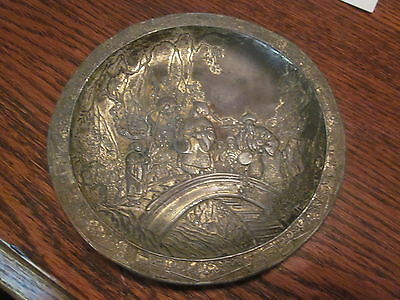 Antique Tin, Silver or Bi-Metal Signed Asian Dish - Chinese/Japanese - 72 grams