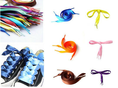 Candy Color Flat Silk Ribbon Shoelaces Shoe Laces Sneaker Party Sport Strings AU