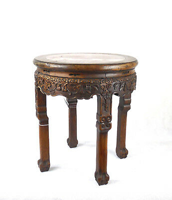 Qing Dynasty Incense Stand Stool Rose Marble I nset