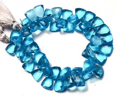 """Swiss Blue Topaz Color Quartz 10x8MM Approx. Faceted Triangular Pyramid Beads 7"""""""