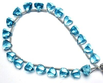 Blue Topaz Color Hydro Quartz Faceted 8MM Approx. Trillion Shape Briolette Beads