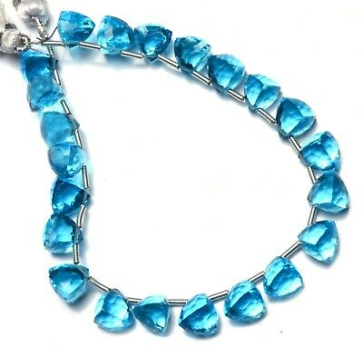 Swiss Blue Topaz Color Hydro Quartz Faceted 8MM Trillion Shape Briolette Beads