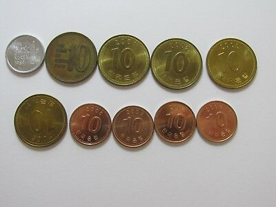 Lot of 10 Different South Korea Coins - 1969 to 2009 - Circulated & Uncirculated