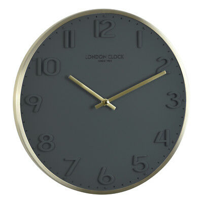 London Clock -brass Brushed 30cm- 01241 Wall Clock with Battery-Powered Quartz
